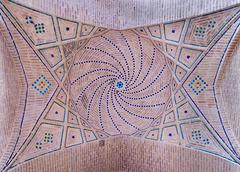 Dome of an ancient mosque, oriental ornaments from shiraz, iran Stock Photos