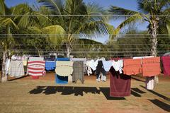 Clean clothes hanging on a washing line, Eighty Mile Beach,  Australia - stock photo