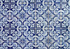 Portuguese  azulejos, old tiled background. Stock Photos