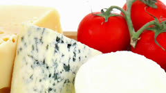 Fresh aged french cheeses Stock Footage