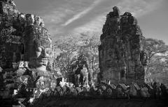 Faces of bayon temple, angkor, cambodia Stock Photos