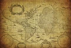 Vintage maailmankartta 1635 Kuvituskuvat