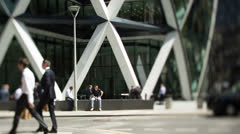 Stock Video Footage of gherkin businessman london finacial center england