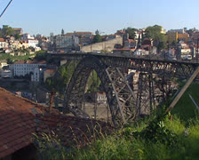 City of Porto,  traffic on Dom Luis Bridge Stock Footage