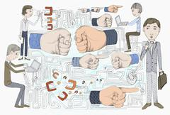 Chattering teeth, human hands gesturing, and people working Stock Illustration