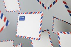 Stock Photo of Floating air mail envelopes