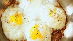 Pan Healthy Eggs Cooking Frying Pan Close Up - stock footage
