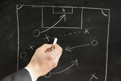 drawing a soccer strategy schema in a blackboard - stock photo