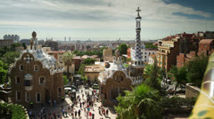 Parc guell barcelona spain skyline torists vacation Stock Footage