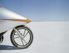 Detail of a racing motorcycle on a salt flat, Lake Gairdner, South Australia, Stock Photos