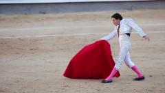 Work bullfighter in the arena. Emotions close-up Stock Footage