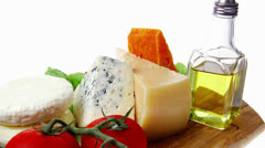 roquefort with cheddar parmesan and soft feta cheese - stock footage