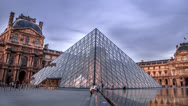 Stock Video Footage of Louvre Day to Night 4k