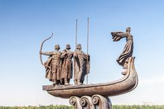 Monument to founders of Kiev - stock photo