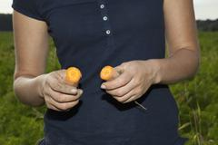 Detail of a woman holding two halves of a carrot Stock Photos