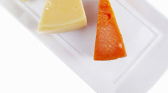 Blue stilton roquefort with orange cheddar and yellow parmesan Stock Footage