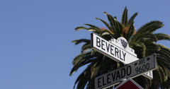 Ultra HD 4K Beverly Hills Sign, Palm Trees, Street Sign, Los Angeles, Blue Sky - stock footage