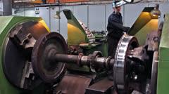 Worker lathe operator Stock Footage