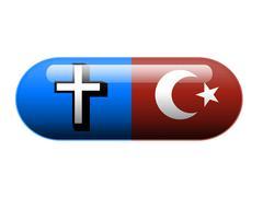 Half Christian half Islamic pill - stock photo
