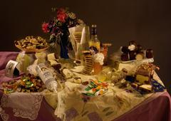 An excess of candy and sweets on a table, still life Stock Photos