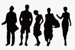 Silhouettes of fashionable plastic figurines Stock Photos
