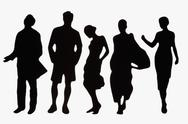 Stock Photo of Silhouettes of fashionable plastic figurines