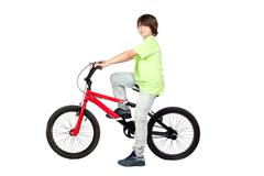 Funny child practicing bike Stock Photos