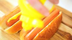Close Up Hot Dogs Dressed Mild Yellow Mustard Stock Footage