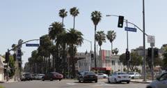 Ultra HD 4K Car Traffic in Beverly Hills, Santa Monica BLVD, Los Angeles, USA Stock Footage