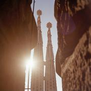 Detail of the towers of La Sagrada Familia, Barcelona, Spain Stock Photos