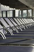 Detail of sun lounges on a cruise ship Stock Photos