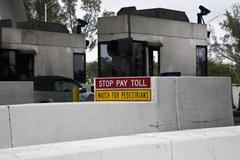 Detail of a toll station Stock Photos