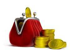 Purse and coins Stock Illustration