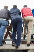 Rear view of three male spectators at a horse racing track - stock photo