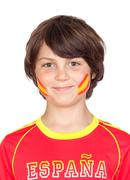 Stock Photo of smiling child fan of the spanish team