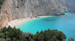 Ionian sea beach from above Stock Footage
