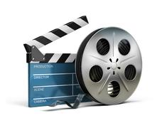 cinema clapper and film tape - stock illustration