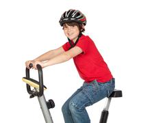 funny child practicing bike - stock photo