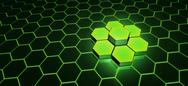 Stock Illustration of Green hexagons in a cluster
