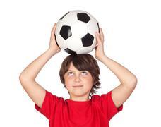 adorable boy with a ball - stock photo