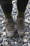 High angle view of a woman wearing hiking boots Stock Photos