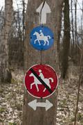 Signs directing horse riders Stock Photos