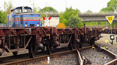 T/Nuremberg Main Danube Canal dock train moving on rail Stock Footage