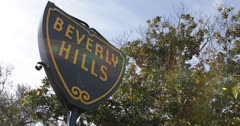 Ultra HD 4K Beverly Hills Sign, Palm Trees, Street Sign, Los Angeles, California - stock footage