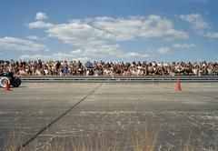View of a crowd at a race track Stock Photos