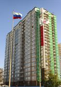 Building of new multi-storey house Stock Photos