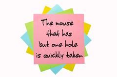"proverb "" the mouse that has but one hole is quickly taken  "" written on bunc - stock illustration"