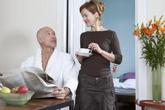 A mature couple in the morning Stock Photos