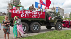 "Truck with ""Segezha-town. 1943-2013 years, Russia Stock Footage"