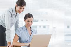 Stock Photo of Businesswomen looking at a laptop